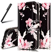 5S Case,iPhone 5 Wallet Case,SKYMARS iPhone SE Cover PU Leather Flip Kickstand Cards Slot Wallet Magnet Stand Case for iPhone 5 / 5S / SE Pink Flower