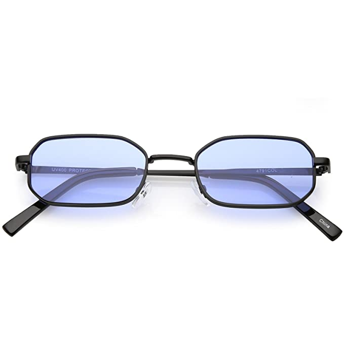 74fe471bb9a sunglassLA - Extreme Small Thick Metal Rounded Rectangle Sunglasses Color  Tinted Flat Lenses 48mm (Black