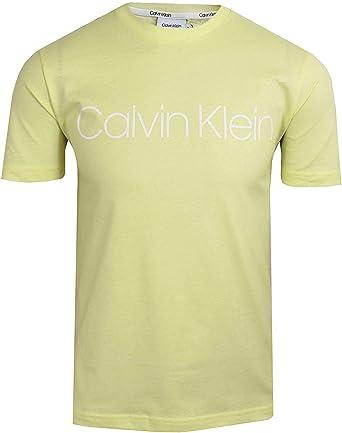 Calvin Klein - Camiseta para hombre, cuello redondo, color amarillo pastel: Amazon.es: Ropa y accesorios