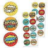 """TownStix Superhero Children Sticker Set, 1.5"""" - 20 Sheets, 200 Stickers"""
