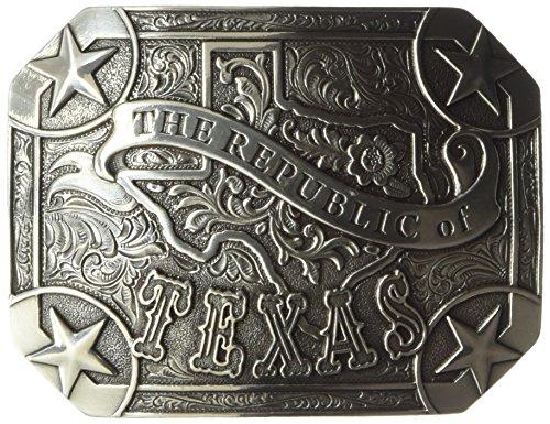 Nocona Men's Republic of Texas Buckle, Silver, One (Texas Buckle)