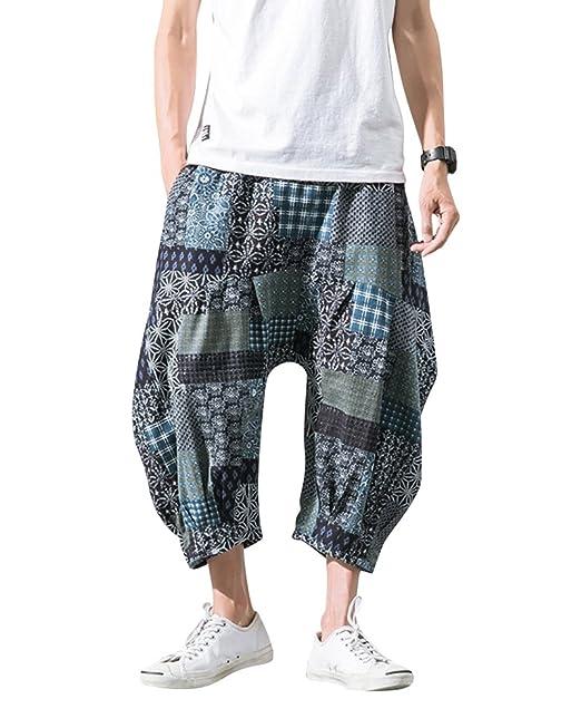 ad80c89766 Pantalones Estampados Hombre De Lino Estilo Casual De Fiesta Harem Capri  Pantalon Azul 1 XS