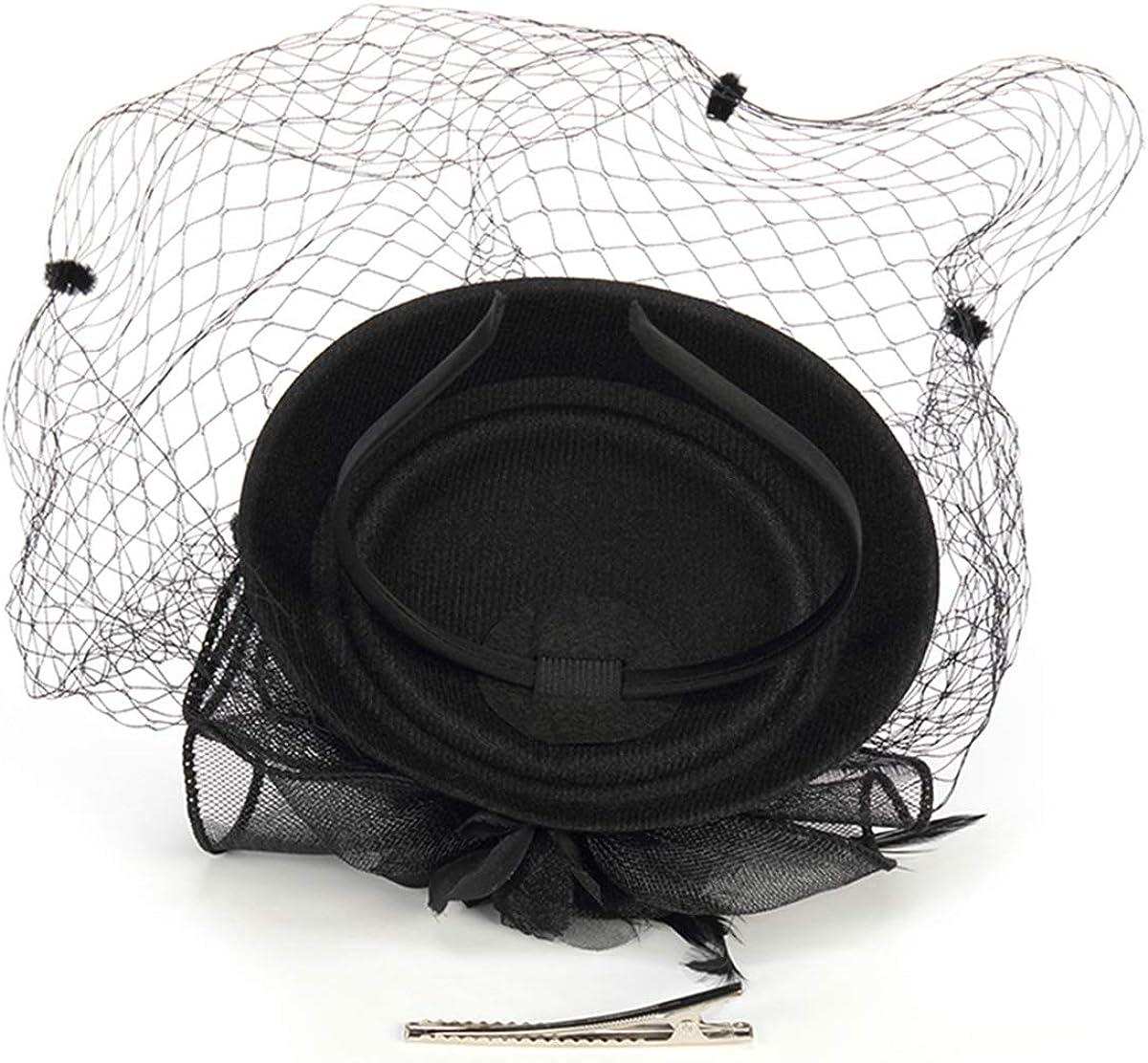 YFWFASH Fascinators for Women Feather Fascinators Pillbox Hat Party Hats for Wedding Derby Tea Easter Church