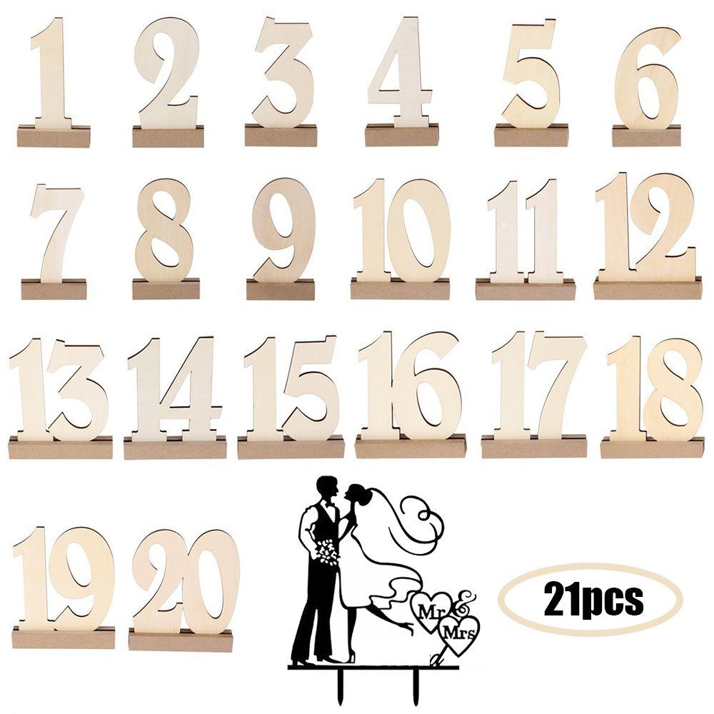 WER 20pcs 1-20 Wooden Wedding Table Number Holders