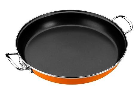 Monix Mandarina - Paellera 32 cm de acero esmaltado naranja con antiadherente Teflon® Classic.