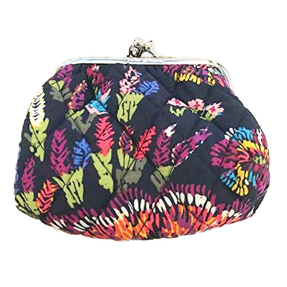Vera Bradley Kiss Snap Close Coin Purse (Midnight WIldflowers)