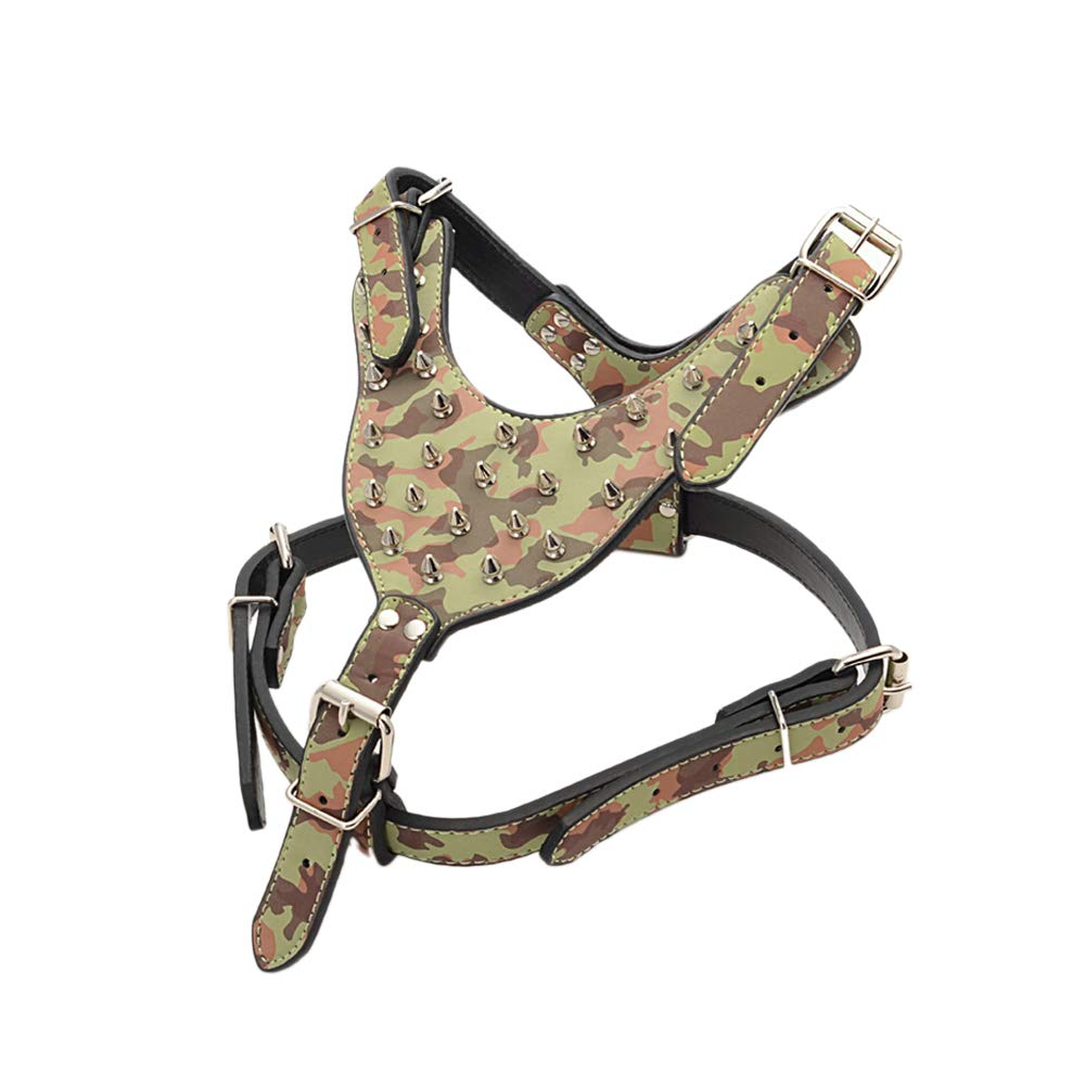 Camouflage Adjustable Soft Leather Pet Dog Cat Collar PU Studded Dogs Chest Straps Pet Harness Gifts for Pets (Camouflage)