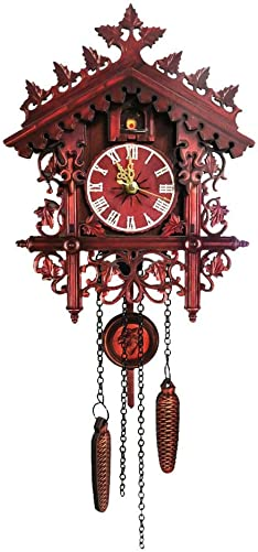 Shantan Wall Cuckoo Clocks Handcrafted Solid Wood Antique Wall Clock Hamburg Cuckoo Pendulum Home Decor No Bird Chirping