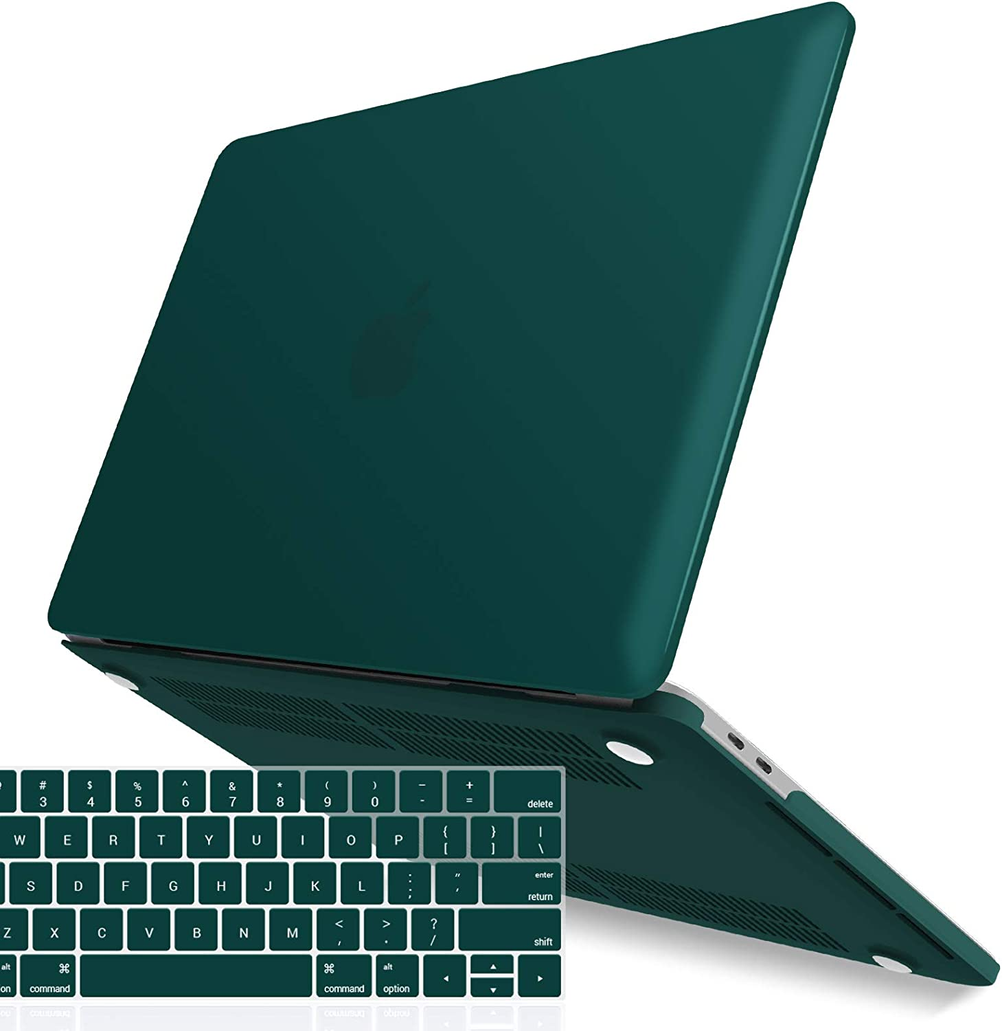 IBENZER MacBook Pro 13 Inch Case 2019 2018 2017 2016 A2159 A1989 A1706 A1708, Hard Shell Case with Keyboard Cover for Apple Mac Pro 13 Touch Bar, Quezhal Green, T13QUGN+1