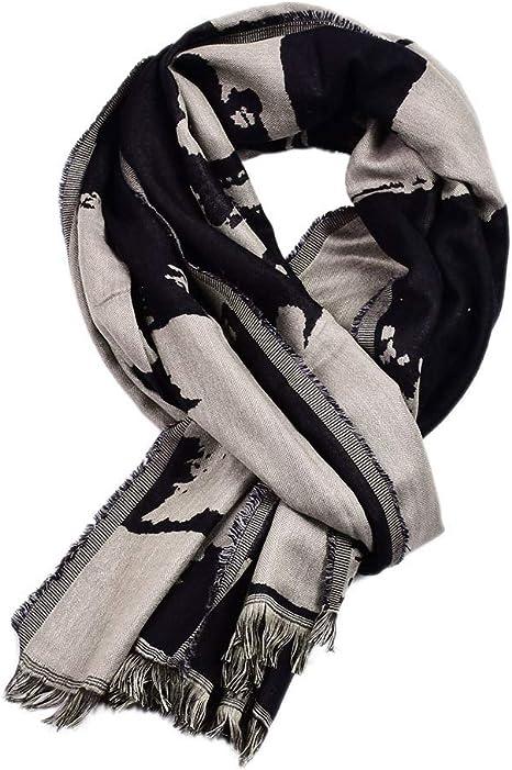 L&H Hombres Bufanda Tinta Pintura Sucio teñido Largo mantón de la Bufanda Hombre Sarga de algodón pañuelo para el Cuello,Negro: Amazon.es: Deportes y aire libre