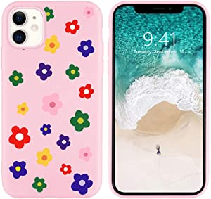 JOYLAND Silicone Daisy Case for iPhone 8 Plus/iPhone 7 Plus Flower Soft Bumper for Girls Floral Skin Full Protective Anti-Scratch Pink TPU Cover Frame Shell Compatible for iPhone 7 Plus/8 Plus