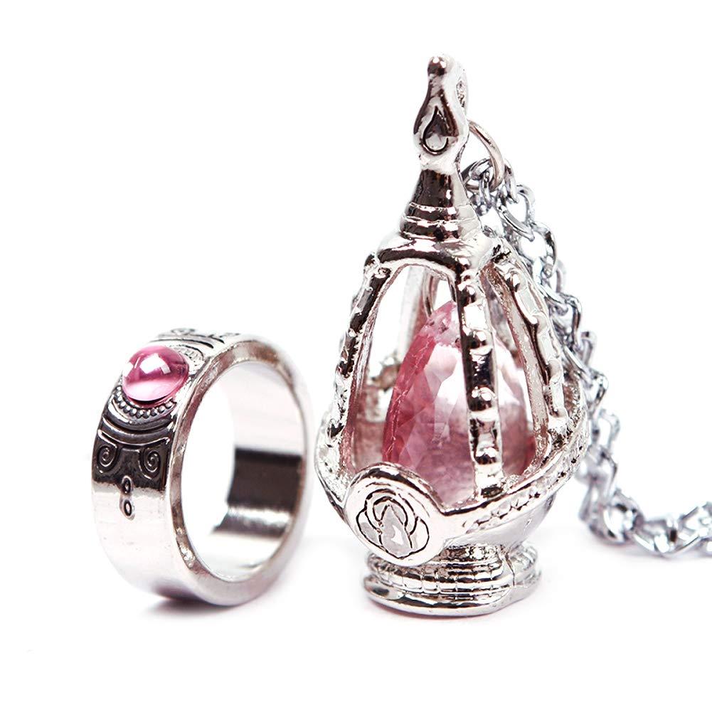 New Puella Magi Madoka Magica Soul Gem Necklace + Ring Cosplay Set