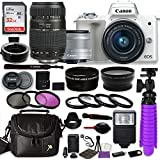 Canon EOS M50 Mirrorless Digital Camera (White) Bundle w/Canon EF-M 15-45mm IS STM & Tamron 70-300mm Di LD Lenses + Auto (EF/EF-S to EF-M) Mount Adapter + Gadget Bag + Accessories