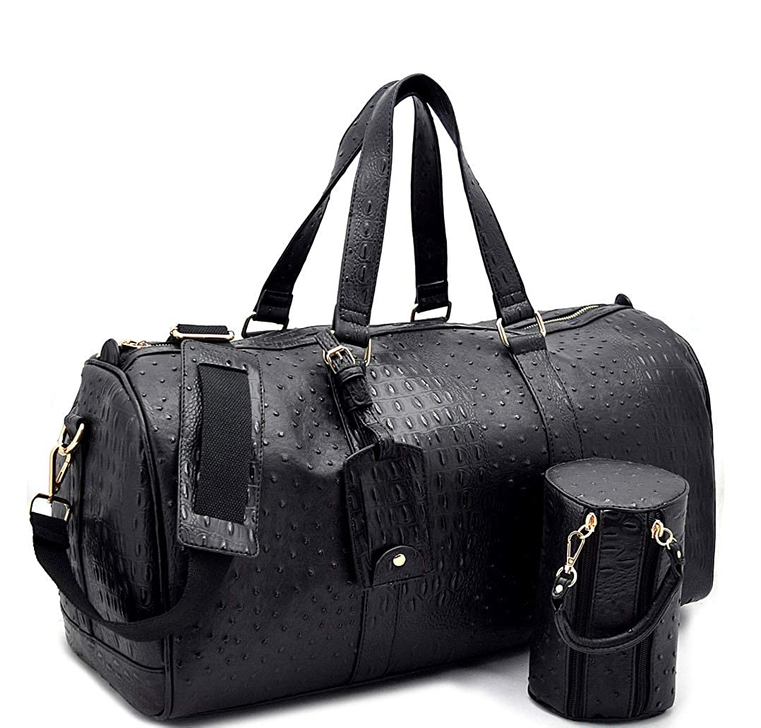 Black Le Miel 20.5  x 10.5  Ostrich Embossed Duffle Weekender w Strap + Barrel Bag