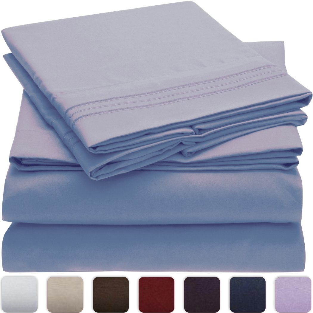 Mellanni Bed Sheet Set   HIGHEST QUALITY Brushed Microfiber 1800 Bedding    Wrinkle, Fade, Stain Resistant   Hypoallergenic   4 Piece (Queen, Blue  Hydrangea)