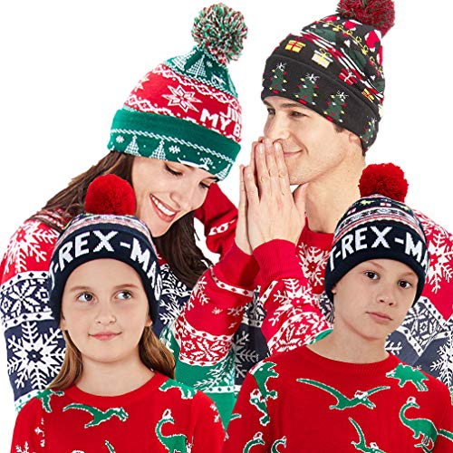 b517554d8a28f RAISEVERN Unisex Ugly LED Christmas Hat Novelty Colorful Light-up Stylish  Knitted Sweater Xmas Party