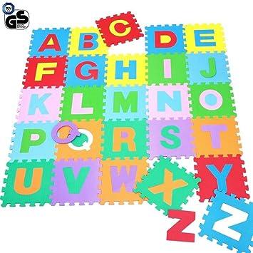 d0bae9d9689872 TrAdE shop Traesio- Teppich Puzzle für Kinder Set 36 Stück Spiel Matten  Buchstaben Alphabet Gummi