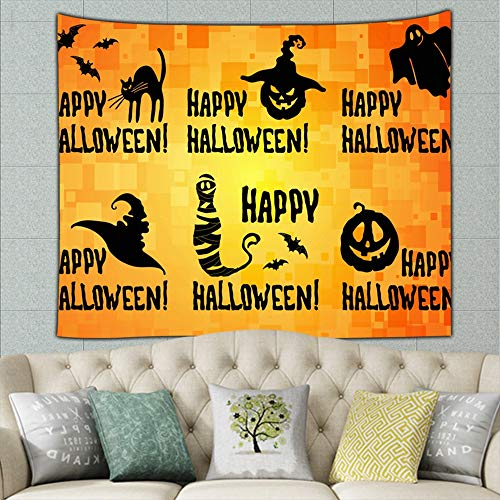Happy Halloween Title Set Pumpkin Lantern Holidays Religion Tapestry Wall Tapestry Bohemian Wall Hanging Tapestries Wall Blanket Wall Art Wall Decor Beach Tapestry Tapestry Wall Decor 90 X 60 Inches -