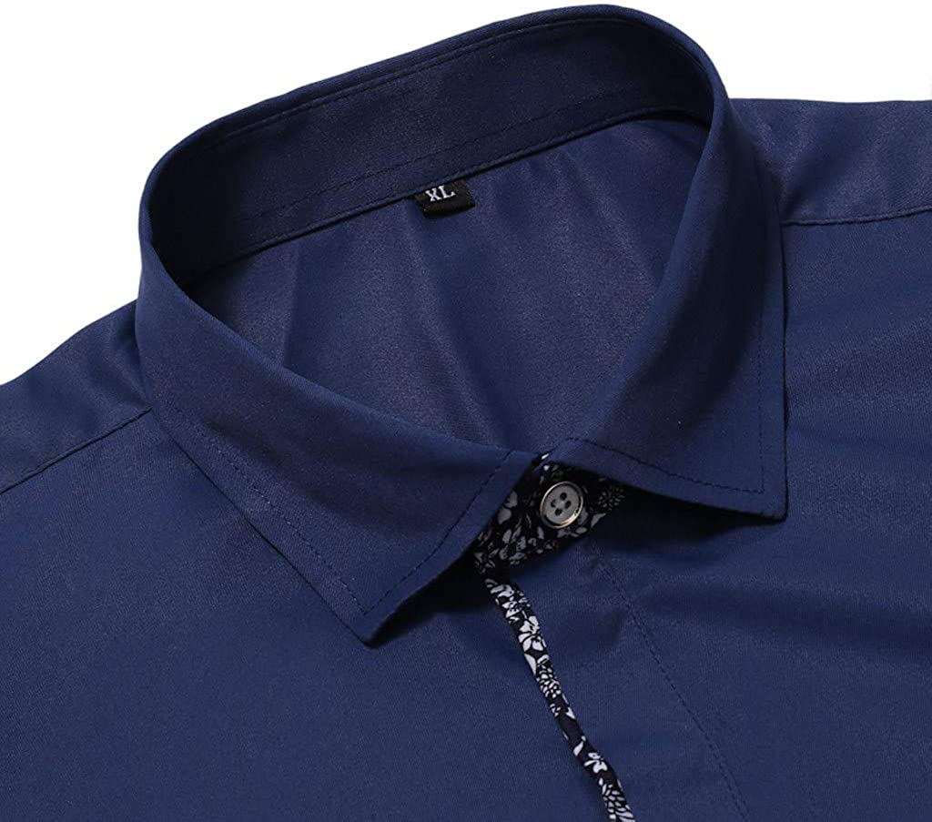 Shirts for Men Stand Collar Black Button Down Long Sleeve Pocket Office Undershirt Holiday Tops