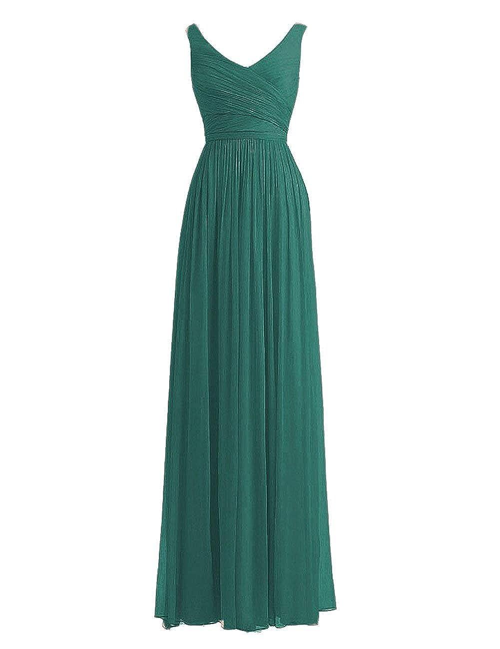 Dark Green Fanciest Women's Double V Neck Long Bridesmaid Dresses 2018 Wedding Party Dress