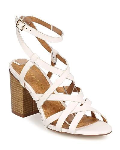 cfd02a653a2 Women Leatherette Peep Toe Criss Cross Low Block Heel Sandal ED92 - White  (Size