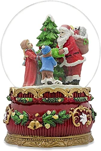BestPysanky Santa Giving Musical Box Snow Globe