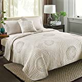(US) MicBridal Quilt Sets 100% Cotton Solid 3D Floral Pattern Quilted Coverlet with Shams, Modern Bedspread Beige, King