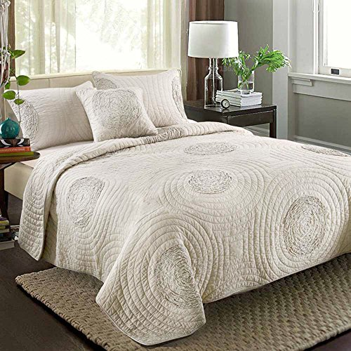 Quilts king size 100 cotton solid champagne modern 3d for Quilted kitchen set