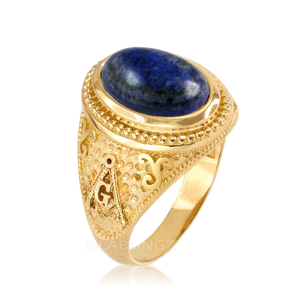 14K Gold Lapis Lazuli Gemstone Masonic Statement Ring (7.5)