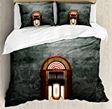 Ambesonne Jukebox Duvet Cover Set King Size, Scary Movie Theme Old Abandoned Home with Antique Old Music Box Image, Decorative 3 Piece Bedding Set with 2 Pillow Shams, Petrol Green and Brown