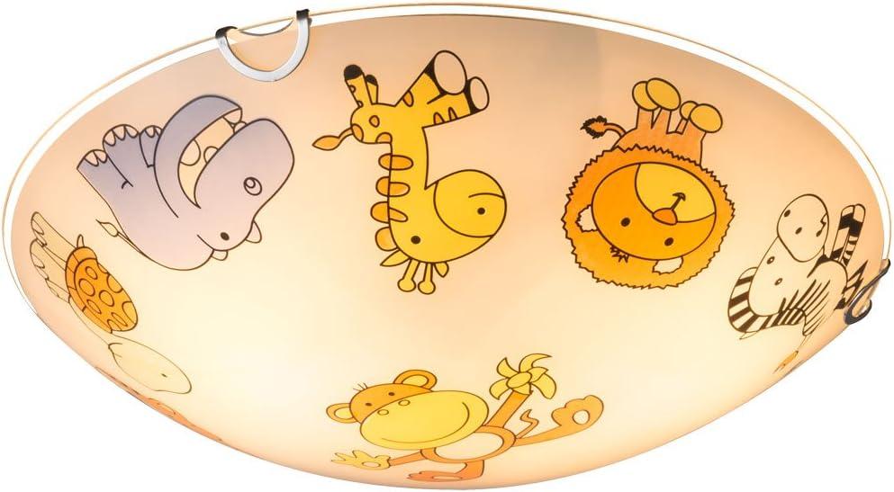 Lampe de chambre denfant pour fille ou gar/çon avec 2 ampoules E27 en verre Motif animaux de zoo 30 cm