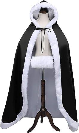 Princess Long Women Winter Warm Hood Cape Shawl Wedding Cloak Christmas Party White