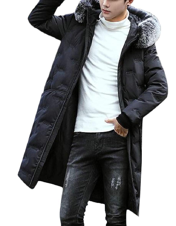 xtsrkbg Mens Faux Fur Hooded Slim Fit Stylish Long Quilted Jacket Coat Outwear