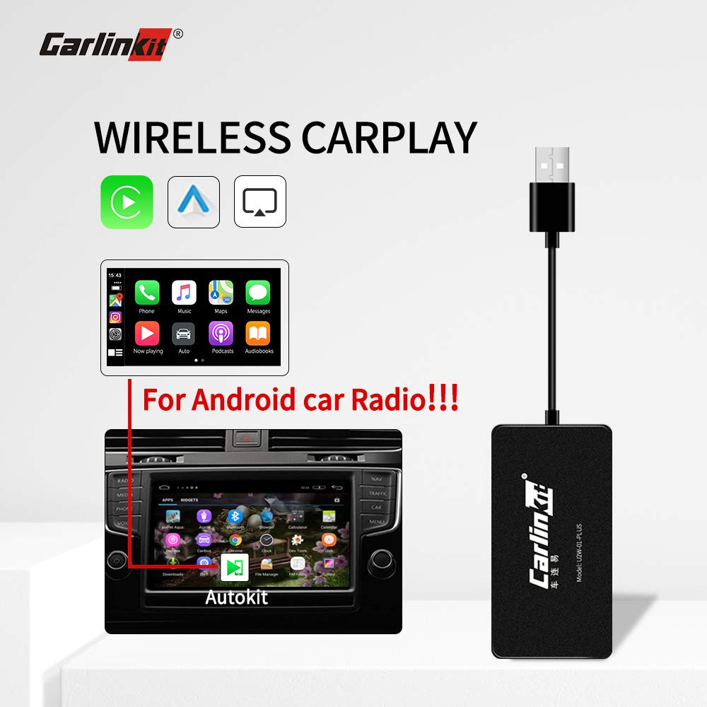 Carlinkit Wireless Carplay Dongle Android Auto carplay Receiver for aftermaket Android Head Unit Upgrade Plug and Play Support ios13 Multiple Windows/do not Support Original car Screen by Carlinkit