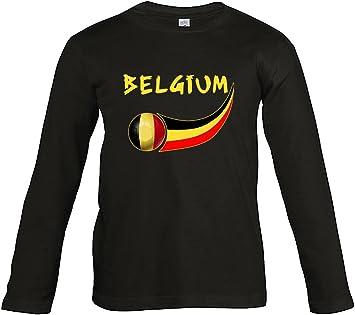 Supportershop – Camiseta Fútbol Bélgica Negro L/S niño: Amazon.es: Deportes y aire libre