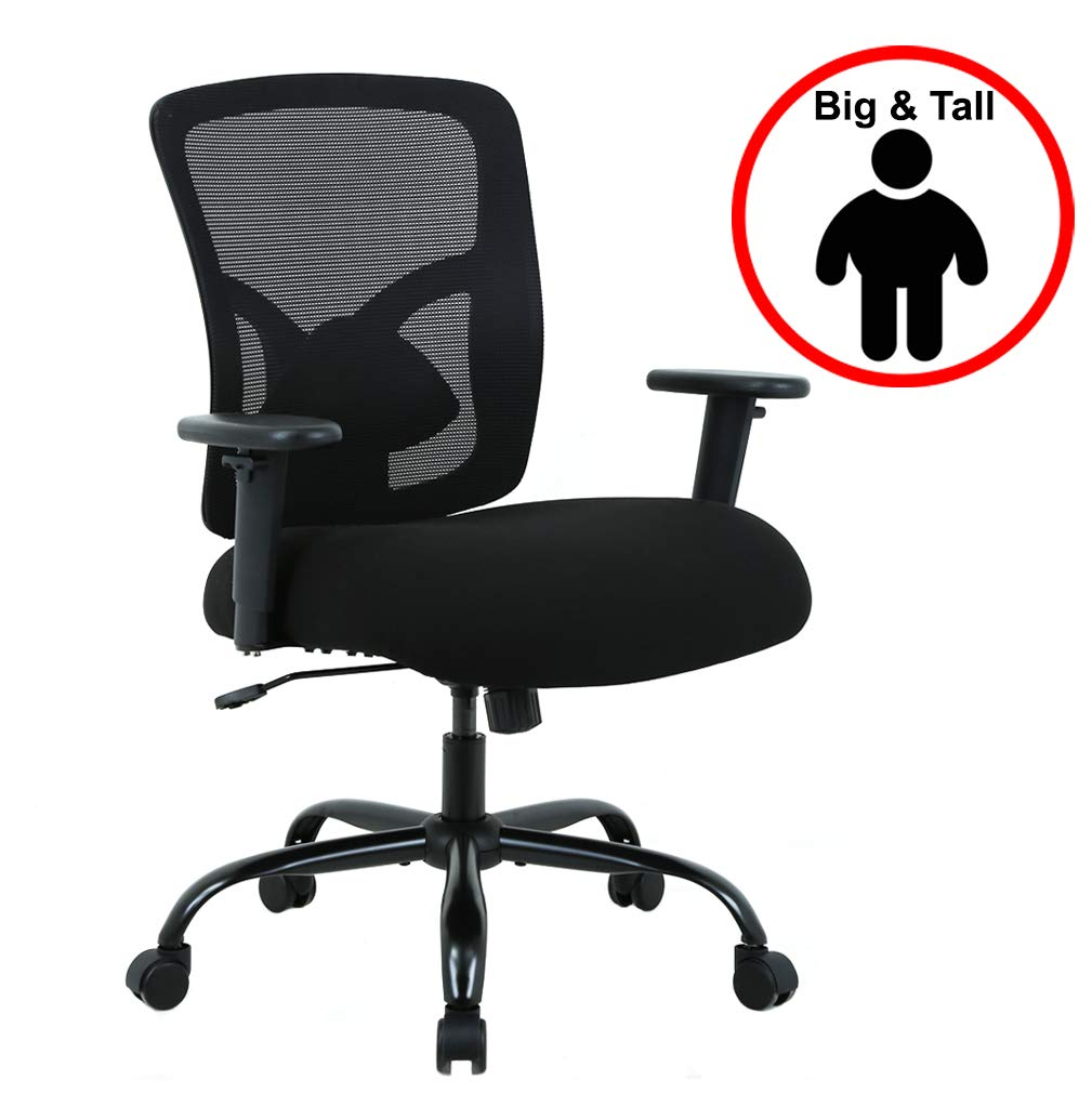 Big and Tall Office Chair Mesh Chair Computer Ergonomic Chair 400lbs Wide Seat Executive Desk Task Rolling Swivel Chair with Lumbar Support Adjustable Arms by BestMassage (Image #1)