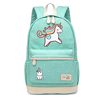 Amazon.com | Travel Bag Teen Girl Female Canvas Dot Book Bag | Casual Daypacks