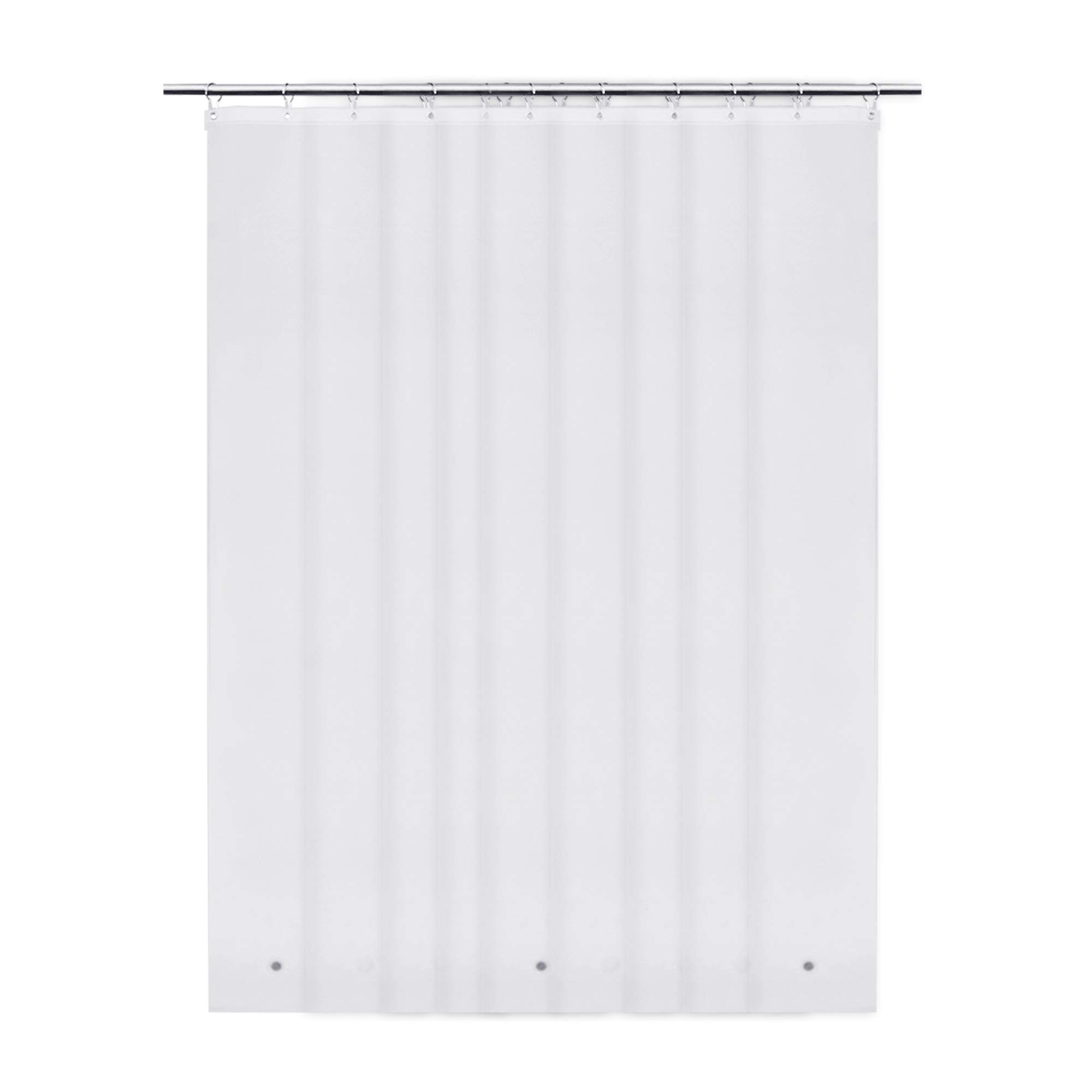FAJI Shower Curtain Liner - Prevents Drafts + 6 Magnets + Forked Bottom + Extra Heavy Weight 8G