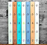 Growth Chart Art | Wooden Ruler Growth Chart for Kids [Boys AND Girls] - Kids Room Décor Height Chart in 7x Fun Colors - Hanging - Naked Birch w/Multi-Colored Numbers