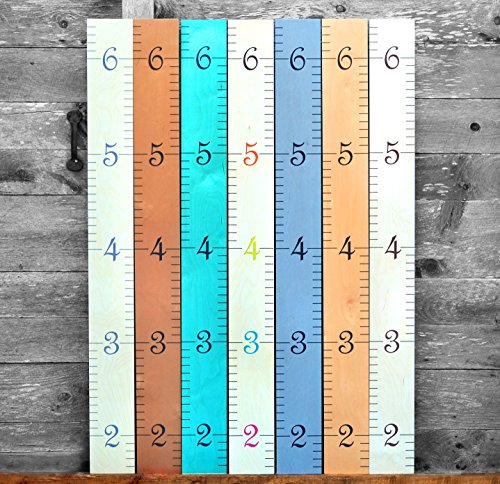 Personalized Growth Chart - Growth Chart Art | Wooden Ruler Growth Chart for Kids [Boys AND Girls] - Kids Room Décor Height Chart in 7x Fun Colors - Hanging - Naked Birch w/Multi-Colored Numbers