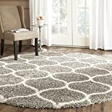 Safavieh Hudson Shag Collection SGH280B Grey and Ivory Moroccan Ogee Plush Round Area Rug (5' Diameter)