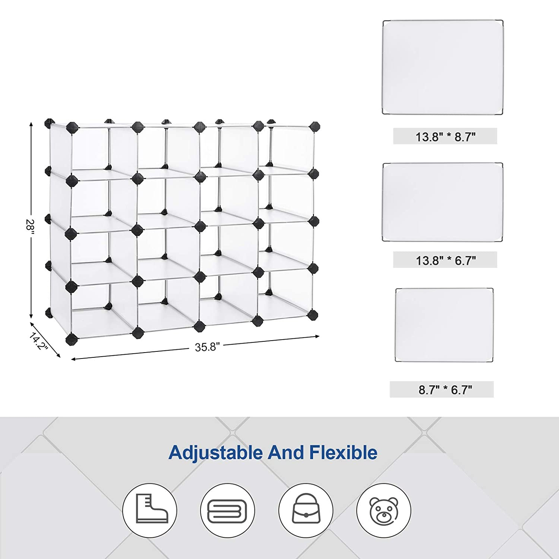 White ULPC44S SONGMICS 16-Cube Storage Organizer Rack Space Saving DIY Shoe Storage Units