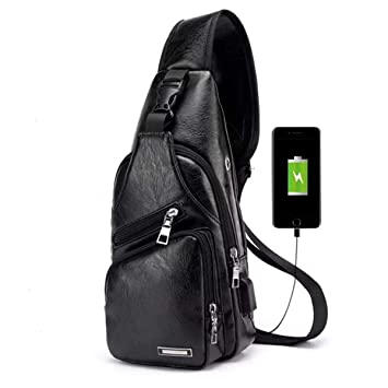 Charminer Bolso Messenger con USB Recargable,Bolso Mochila de Pecho Cuero para Hombres Bolso Bandolera Bolsa Sling Messenger: Amazon.es: Deportes y aire ...