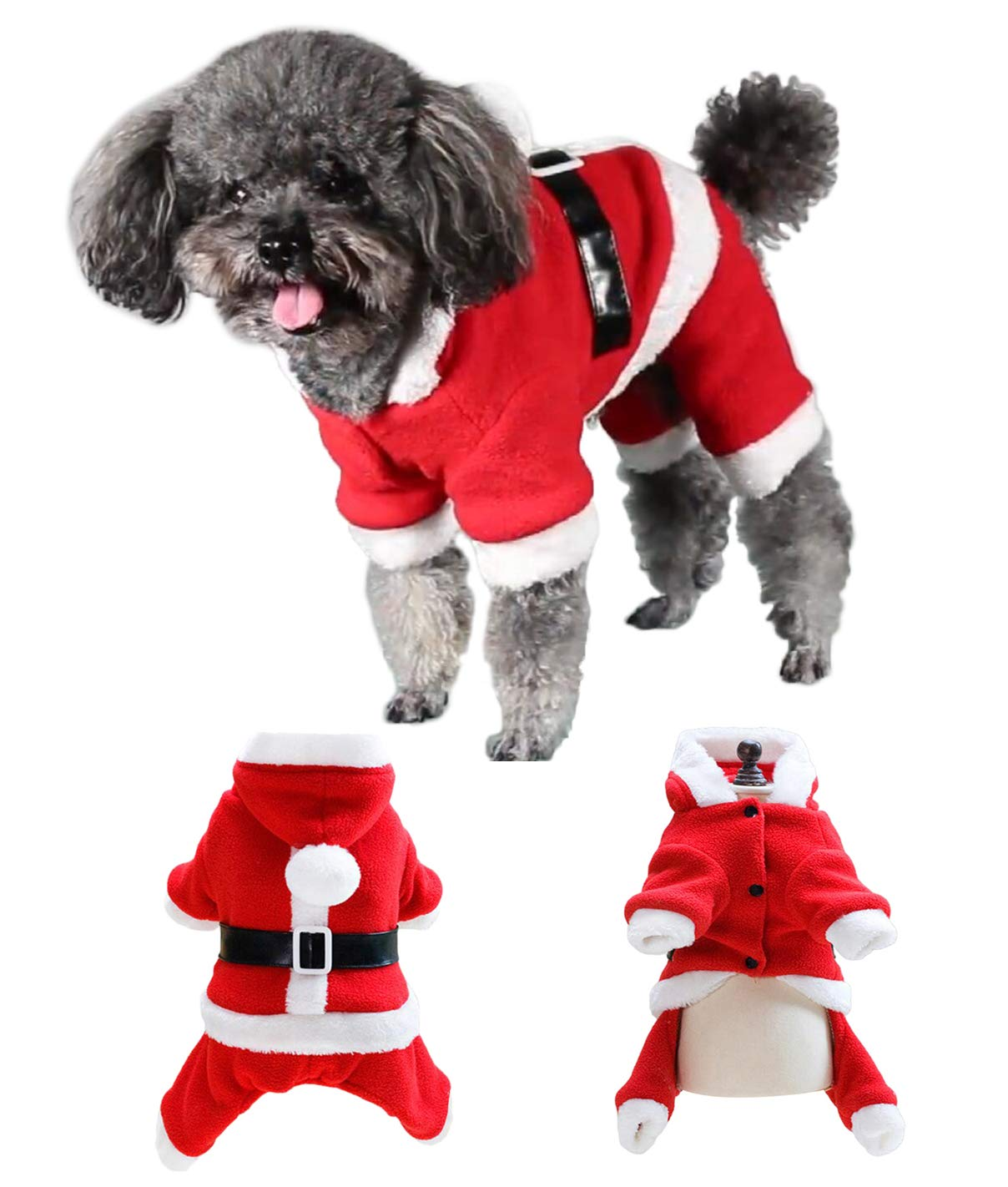 Back Length 7\ BeeChamp Super Cute Dog Christmas Costume Hooded Coat Santa Claus Pet Clothes for Puppies (Belt, Back Length 7 )