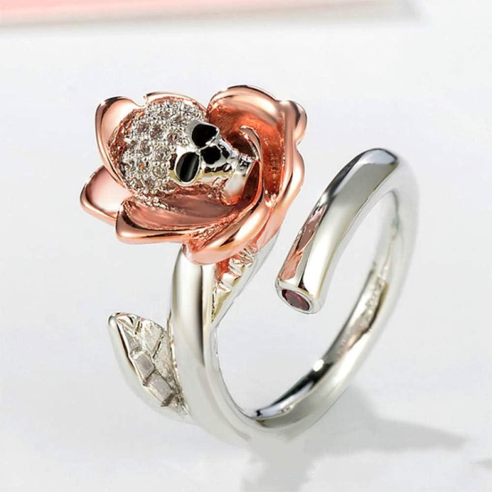 Nobrand XSZJ Anillo chapado en oro con calavera para mujer, anillo de apertura, personalidad dedo gatillo