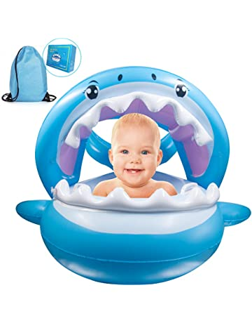 7828d1b750a5d TRSCIND Baby Pool Float Swimming Floats Inflatable Shark Baby Floatie with  Canopy for Infant Toddler Kid