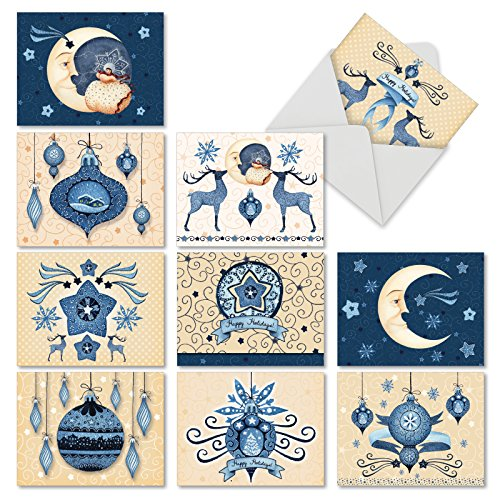 Blue Christmas' Blank Holiday Note Cards with Envelopes, Boxed Set of 10 Blue and Cream Christmas Cards 4 x 5.12 inch, Assorted Reindeer, Moon and Ornaments Christmas Cards M6700XSB