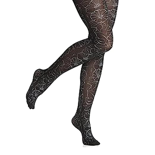 1bc5871a02c0b Hue Women's Glam Opaque Floral Glitter Print Tights Black (S/M) at ...