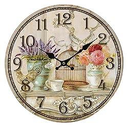 SODIAL(R) Floral Vintage Shabby Chic Style 34cm Wall Clock Home Bedroom Kitchen Quartz (Pattern:flower+birds)