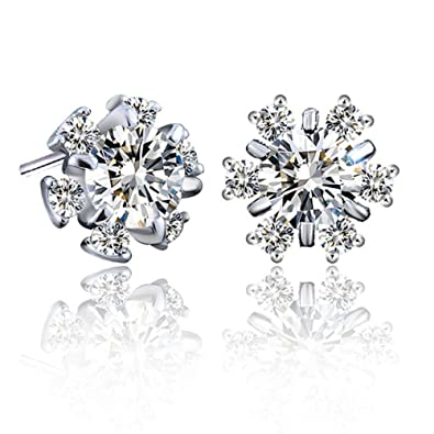 925 Silver Cubic Zirconia Crystal Flower Necklace And Stud Earrings Gift Set UK